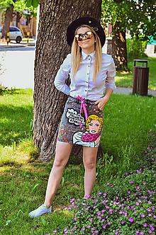 Sukne - Maľovaná sukňa - 11342349_