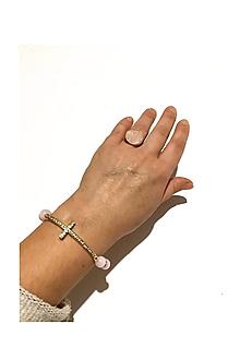 Sady šperkov - Krížik s Ruženínom v zlatej farbe - 11342048_