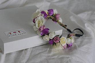"""Detské doplnky - Kvetinový venček """"fialovo-biele ružičky"""" - 11339009_"""