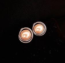 Náušnice - napichovačky perla chirurgická oceľ - 11339227_
