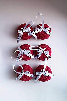 Dekorácie - Vianočné ozdoby | Gule | na zavesenie | veľké | Bordová | sada 6ks - 11345720_
