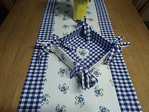 Úžitkový textil - Obrúsok kvety s modrou... - 11343329_