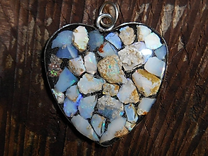 Náhrdelníky - heart with opals for happy - 11345572_