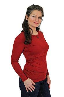 Tehotenské/Na dojčenie - ZIMNÍ MERINO - 3v1 KOJÍCÍ TRIČKO, dlouhý rukáv, výstřih ke krku - 11343555_