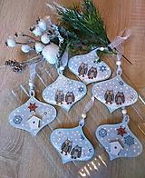 Dekorácie - Vianoce - SADA 6 ks vianočných ozdôb so sovičkami - 11344726_