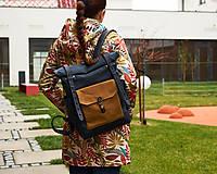 Batohy - Modrý batoh z kože a voskovaného plátna. Roll top ruksak. - 11347135_