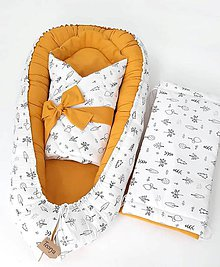 Textil - Hniezdo a zavinovačka vzor Les a medová - 11342944_