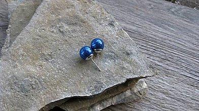 Náušnice - Trblietavé guličky - napichovačky (kráľovsky modré, č. 3034) - 11345390_