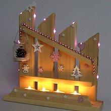 Dekorácie - HELIOS - vianočný svietnik - ružový adventný plot - 11342945_