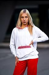 Mikiny - Mikina s kapucňou FOLK biela - 11342925_