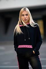 Mikiny - Mikina s kapucňou FOLK čierna - 11347324_