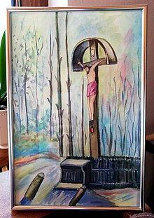 Obrazy - Kríž pri ceste - obraz akvarel - 11343675_