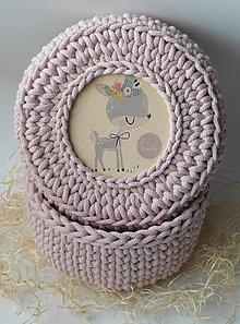 Detské doplnky - Handmade háčkovaný košík z kvalitných šnúr s vrchnákom s maľovaným motívom (detským/dievčenským) - 11345677_