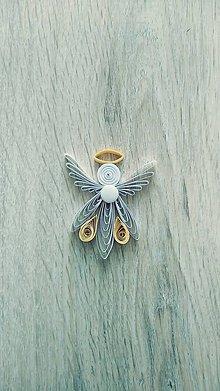 Dekorácie - Papierový anjelik, anjelíček.. na vianočný stromček, aj pre šťastie - voliteľná farba - 11343043_