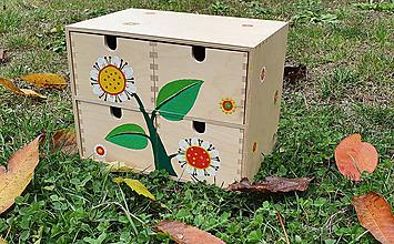 Krabičky - Drevená zásuvková skrinka - kvetinková - 11345175_