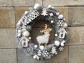 Dekorácie - Vianočný veniec na dvere biely - 11347055_