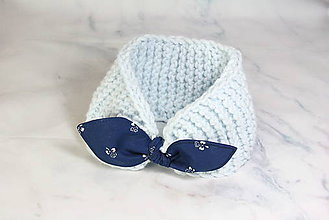 Čiapky - Čelenka bledomodrá s modrotlačovou mašľou  - 11343839_
