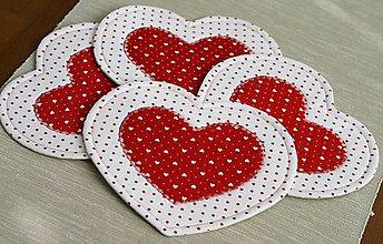 Úžitkový textil - podšálky srdiečka - 11345292_