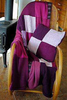 Úžitkový textil - Cyklámenová deka s vankúšom - 11344137_