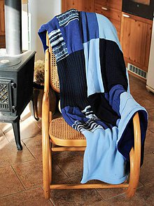 Úžitkový textil - Modrá deka na zimu - 11344188_