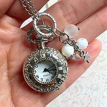 Náhrdelníky - Star Moonstone Pocket Watches Pendant / Náhrdelník s hodinkami, príveskom a minerálmi - 11350050_