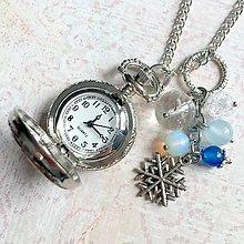 Náhrdelníky - Winter Snowflake Pocket Watches Pendant / Náhrdelník s hodinkami, príveskom a minerálmi /H0007 - 11350100_