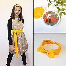 Detské oblečenie - set  zásterka+čelenka+podložky Sofi (3ks) - 11349741_