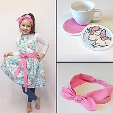 Detské oblečenie - set zásterka+čelenka+podložky Kaja (3ks) - 11349775_