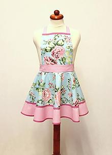 Detské oblečenie - detská zásterka Roses on tyrkys - 11350134_