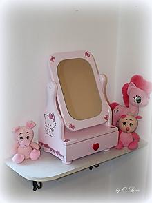 Zrkadlá - Rozprávkové 50 cm veľké zrkadlo so šuflíčkom - Mačiatko - 11348530_