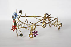 Ozdoby do vlasov - Mosadzný venček s listami a farebnými kvetmi - Devanka - 11348293_