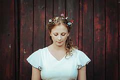 Ozdoby do vlasov - Mosadzný venček s listami a farebnými kvetmi - Devanka - 11348294_