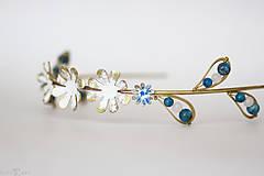 Ozdoby do vlasov - Mosadzná modrá čelenka - Devanka - 11348554_
