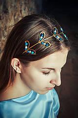 Ozdoby do vlasov - Mosadzná listová modrá čelenka - Devanka - 11348889_