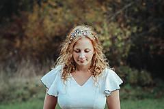 Ozdoby do vlasov - Mosadzná listová čelenka s lapisom lazuli - Devanka - 11349196_