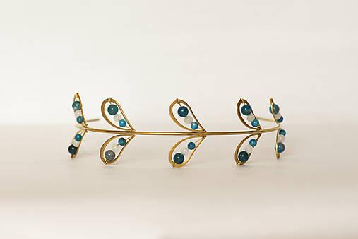 Mosadzná listová modrá čelenka - Devanka