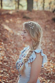 Ozdoby do vlasov - Mosadzná listová červená čelenka - Devanka - 11348721_