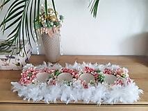 Svietidlá a sviečky - maxi svietnik s páperím a kvetmi - 11350910_