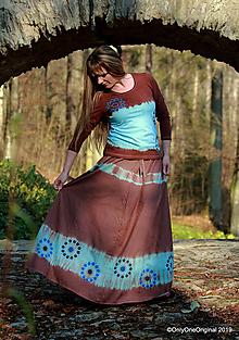 Sukne - Sukňa batikovaná, maľovaná, etno ZEM - 11348521_