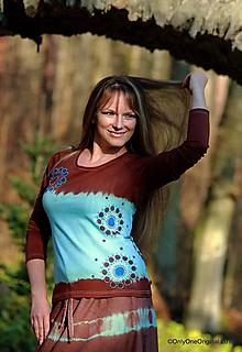 Tričká - Dámske tričko maľované, batikované NEBO - 11348797_