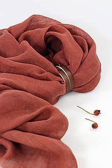 Šály - Veľká ľanová šatka červenohnedej farby s remienkom - 11348593_