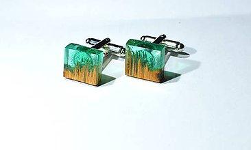 Šperky - Drevené manžetové gombíky zelené - 11350978_