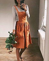 Sukne - Dámska ľanová sukňa na traky - 11347945_