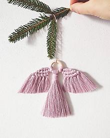 Dekorácie - Vianočná makramé ozdoba ANGEL (Ružová) - 11347949_