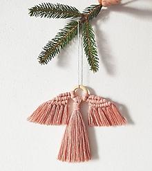 Dekorácie - Vianočná makramé ozdoba ANGEL (Koralová) - 11347966_