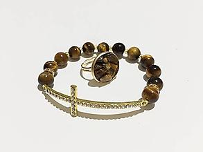 Sady šperkov - Tigrie oko v zlatej farbe - 11348157_