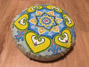 Úžitkový textil - Pohánkový podsedák s ručne maľovanou mandalou - 11350950_