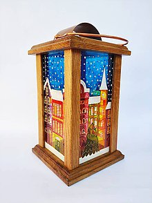 Svietidlá a sviečky - Drevený lampáš maľovaný - vianočné mestečko - 11350005_