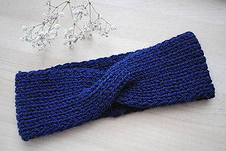 Čiapky - Vlnená pletená prekrížená čelenka tmavomodrá (vlna a alpaka) - 11349883_