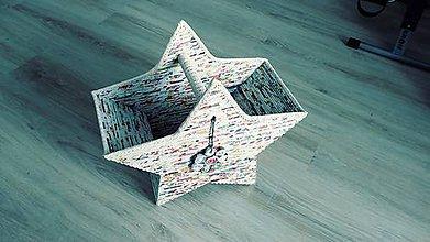 Košíky - Hviezda - veľký úložný aj dekoračný box z letákov - 11348125_